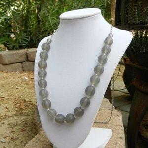 Handmade Gray Arcylic Beads & Chain Necklace